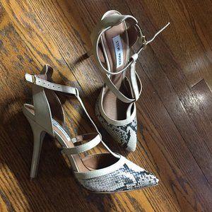 Steve Madden Leather Snakeskin Ankle Strap Heels